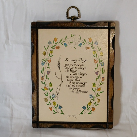 The Serenity Prayer On A Wooden Hand Made Plaque In A Vintage White Chalk Paint